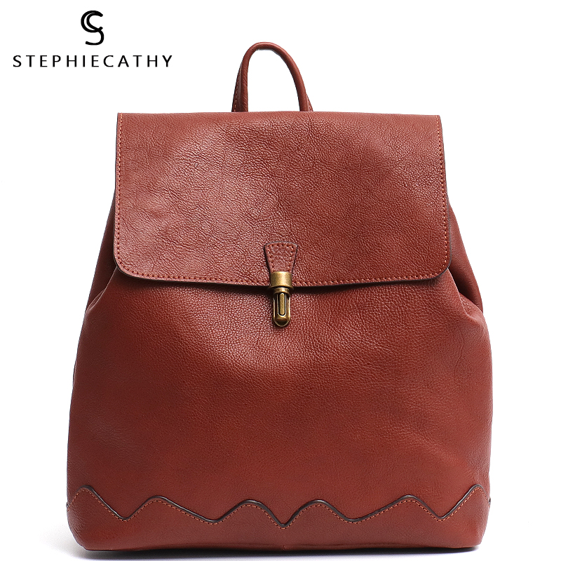 SC High Quality Italian Cow Leather Backpack For Women Fashion Girls School Bags Leather Flap Metal Lock Large Shoulder Knapsack