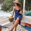 Sexy Sun Constellation Print Deep V-Neck Imitation Satin Package Hip Spaghetti Straps Backless Beach Mini Dress Vestidos 2