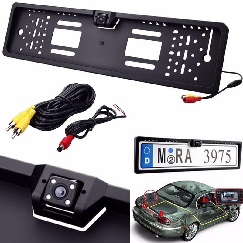 HD Auto Rückansicht Kamera 4 LED Nachtsicht Auto Reverse Parkplatz Monitor Backup-Kamera CMOS NTSC für Europäische Lizenz platte Rahmen