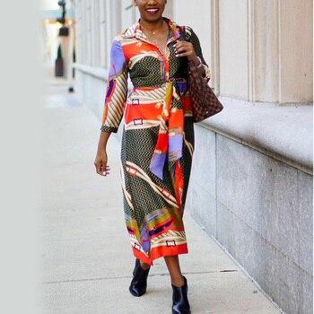 Vestido oficial mujer trabajo de negocios de talla grande primavera Town Down Collar Single Breasted estampado 2020 moda Oficina señoras vestido nuevo