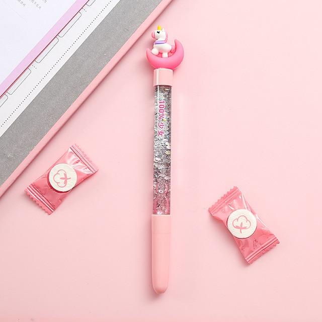 1pc Cute Fairy Pen Creative Quicksand Sequins Unicorn Flamingos Pig Moon Cat Claw Dinosaur Gel Pen Novelty Stationery Supply 4