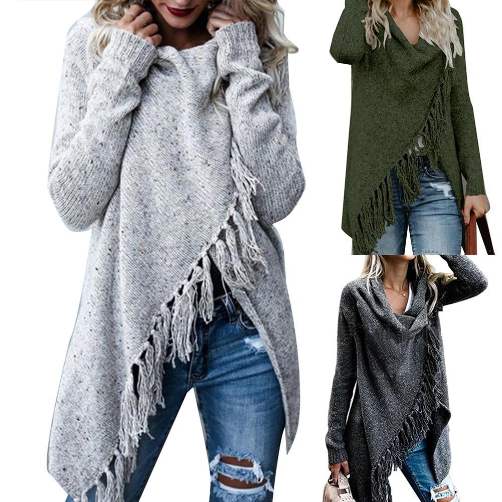 Hot Women Solid Color Irregular Shawl Long Sleeve Tassels Knitted Sweater Cardigan
