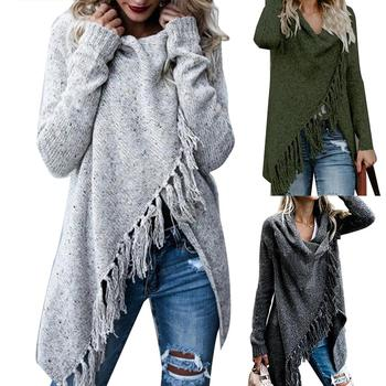 Hot Women Solid Color Irregular Shawl Long Sleeve Tassels Knitted Sweater Cardigan sweet solid color collarless long raglan sleeve cardigan for women