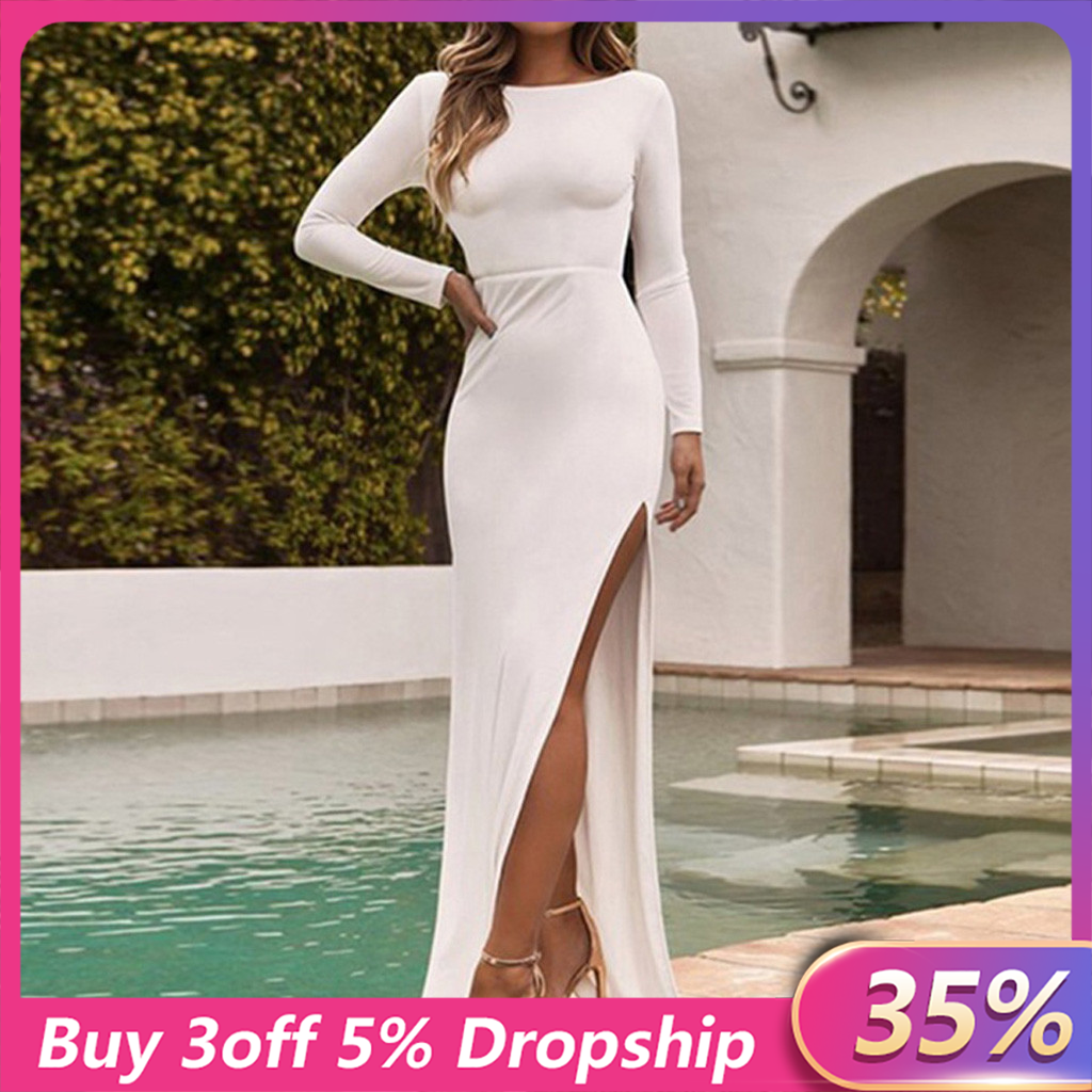 Backless Sexy Party Dress Vestidos Long Sleeve High Side Split Bodycon Maxi Dress Women White Black Elegant Long Dress#3