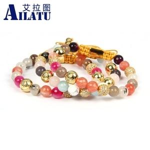 Image 5 - Ailatu New Bracelets for Women Mix Natural Stones Braiding Bracelet Cz Jewelry Stainless Steel Logo Beads Top Quality