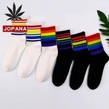 Creative Men Sock Rainbow Men's Thick Socks Striped Unisex B