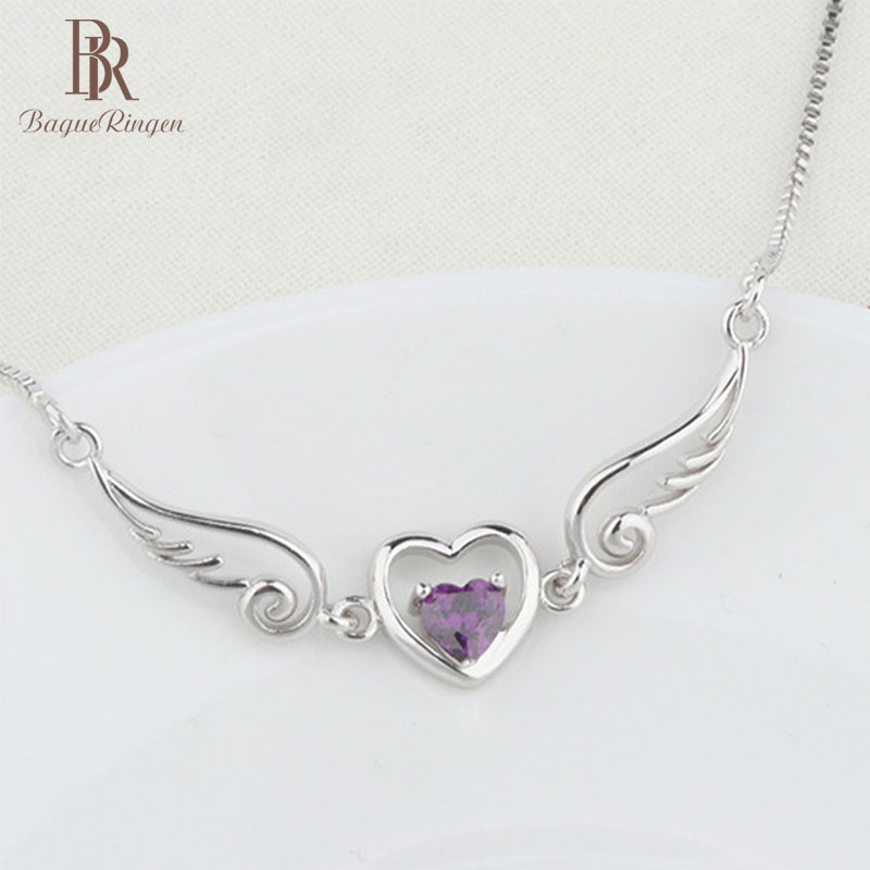 Begua Ringen 925 Sterling Silver Necklace Heart Shape 15*25MM Amethyst Vintage Silver Jewlery Necklace Wholesale Party Gifts