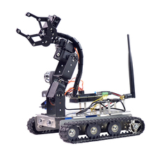 Programmable Robot DIY Wifi + Bluetooth Stainless Steel Chassis Track Tank Car with Arm for Raspberry Pi 3B+(Standard Edition)