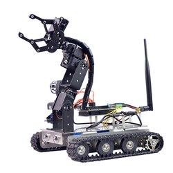 Programmeerbare Robot DIY Wifi + Bluetooth Roestvrij Stalen Chassis Spoor Tank Auto met Arm voor Raspberry Pi 3B + (standaard Editie)