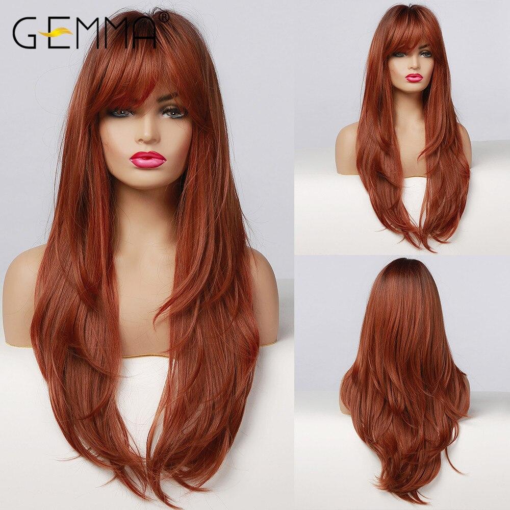 Gemma longa reta ombre preto laranja vinho peruca vermelha com franja de cabelo sintético para as mulheres resistente ao calor em camadas cosplay peruca diária