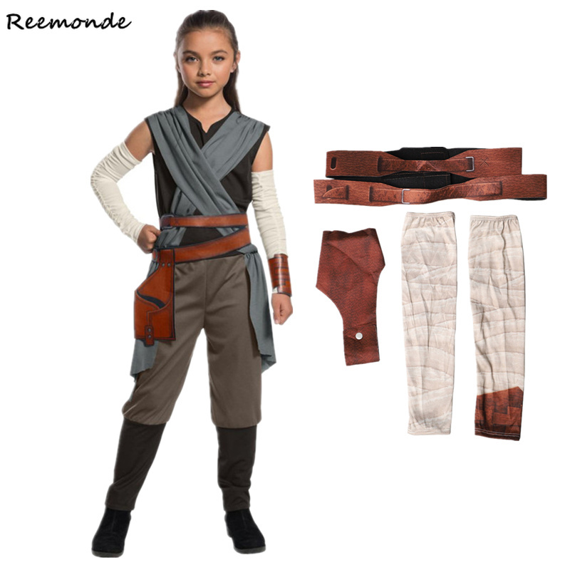 Kids Star War Rey Cosplay Costume Jedi Warrior Obi Wan Kenobi Black Soldiers Storm Troopers The Force Awakens Girls Fancy Dress