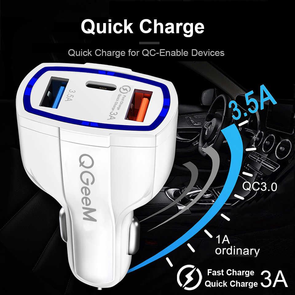QGEEM QC 3.0 USB C شاحن سيارة 3-منافذ سريعة تهمة 3.0 شاحن سريع ل سيارة الهاتف محول الشحن ل فون شياو mi mi 9 Redm