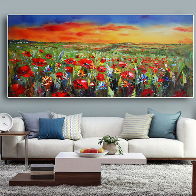 Wild Flowers Poppies Landscape Oil Painting Printed on Canvas 2