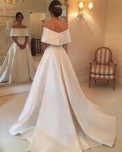 A-Line Off The Shoulder Ivory Wedding Dresses 2019 Elegant Boat Neck Satin Long Bridal Gowns vestido de noiva