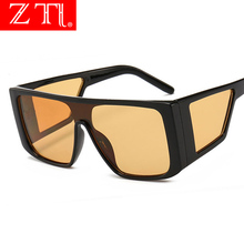 ZT Square Punk Goggle Sunglasses Men Double Lens Windproof One Pieces Eyewear Women Flat Top Cool Retro Sun Glasses