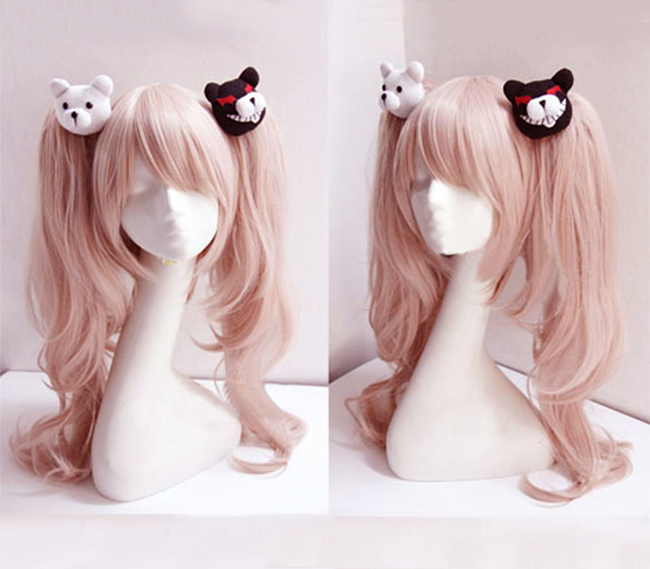 Cosplay Wig Ponytail-Clip Danganronpa Enoshima Junko Wavy Pink Bear Long with Heat-Resistant