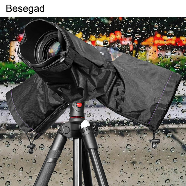 Besegad עמיד למים מים הוכחת מצלמה גשם כיסוי Rainshade מגן מקרה מעיל עבור מצלמות DSLR Canon Nikon Sony Pentax