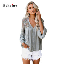 Echoine Women Crochet Blouse Embroidery Button Lace Hollow Out Long Flare Sleeve Sexy V-Neck Fashion