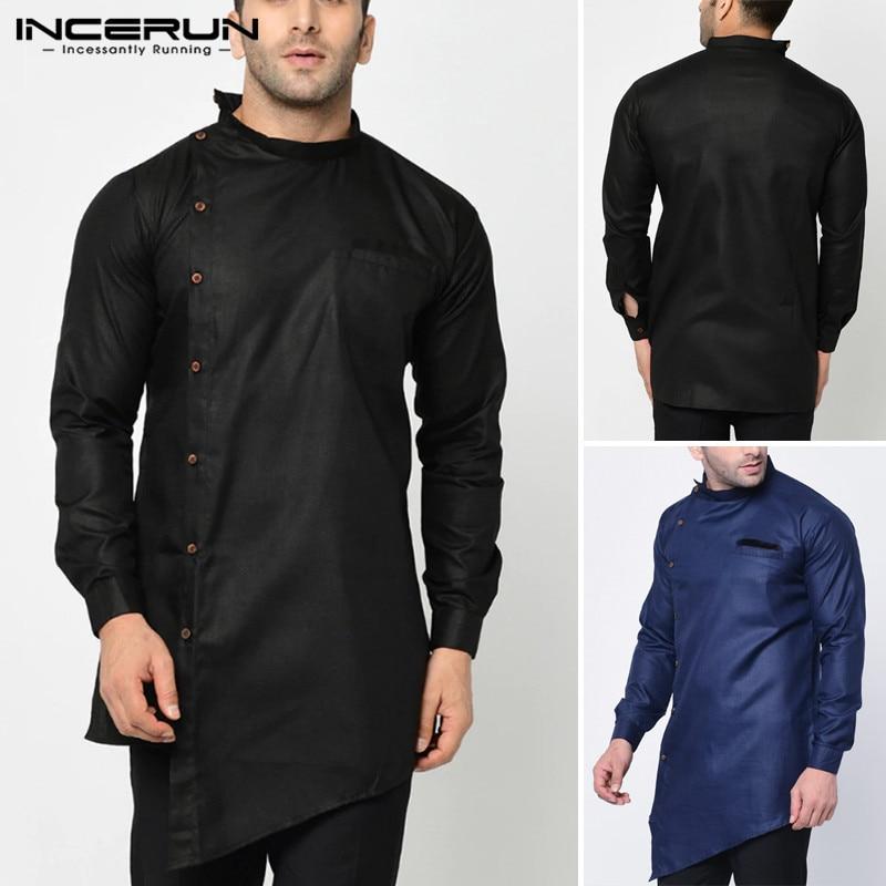 INCERUN Men Long Shirts Man Irregular Kaftan Dress Shirt Casual Solid Color Kurta Blouse Fit Stand Collar Button Muslim Camisa