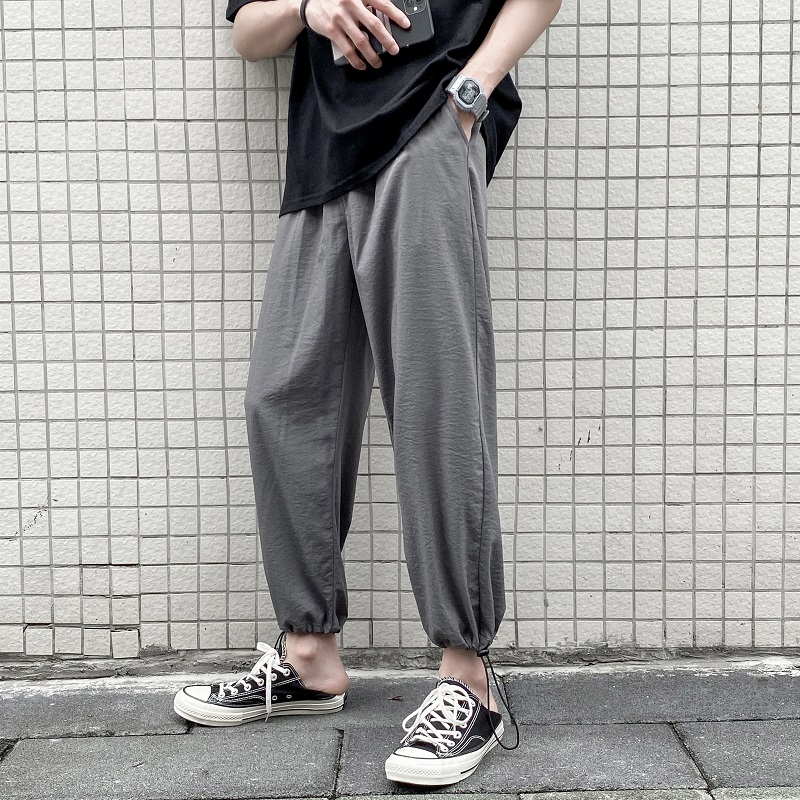 Summer Drawstring Casual Pants Men's Fashion Solid Color Loose Joggers Pants Men Sweatpants Street Wild Straight Trousers M-5XL