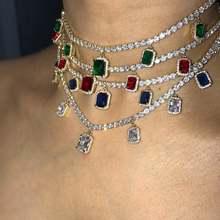Шикарное женское ожерелье в стиле хип хоп, сверкающее блестящее сердце, стрела, cz, теннис, очаровательное квадратное ожерелье с подвеской в стиле рок, панк, ювелирные изделия со льдом