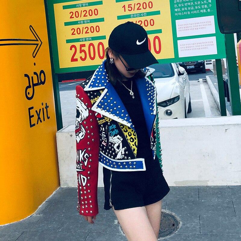 Jaqueta de Couro Cabolsa do Plutônio Outono Punk Graffiti Falso Feminino Rock Zíper Rebite Colheita Motocicleta Motociclista Jaquetas Streetwear Curto