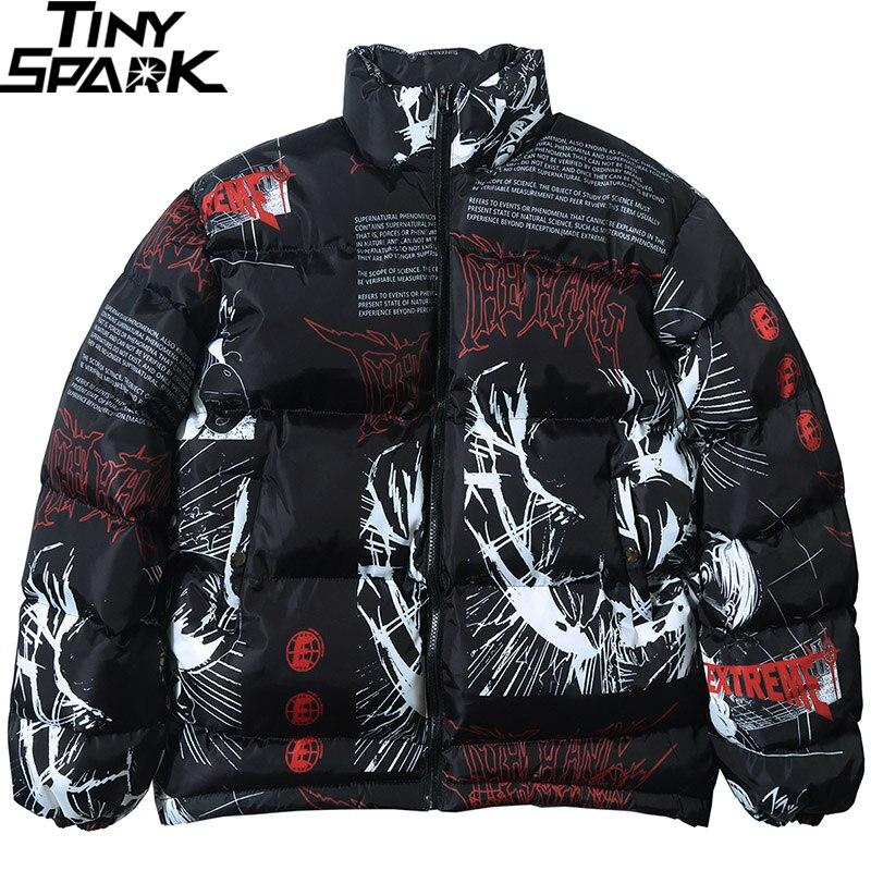 2019 Hip Hop Jacket Parka Japanese Cartoon Graffiti Streetwear Men Windbreaker Harajuku Winter Padded Jacket Coat Warm Outwear