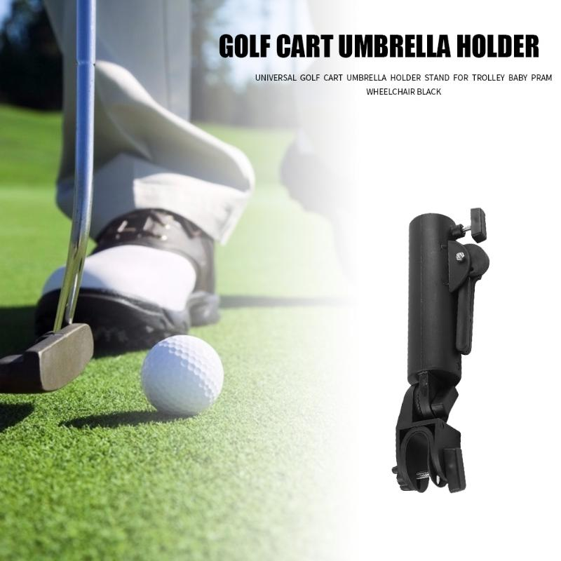 Golf Cart Umbrella Holder Double Lock Connector Stand For Trolley Baby Pram Wheelchair Universal Black