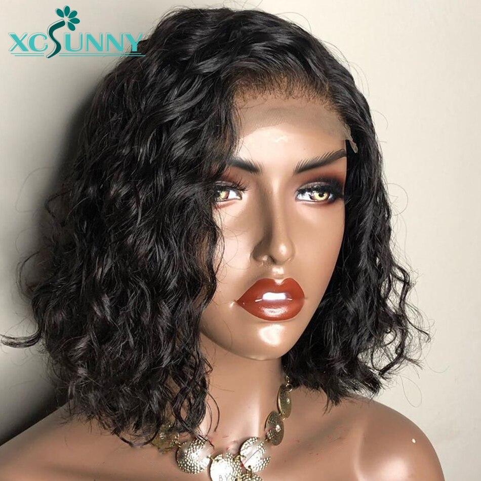 13x6 короткие кудрявые Синтетические волосы на кружеве парик бразильский Реми человеческие волосы парики без клея для Для женщин