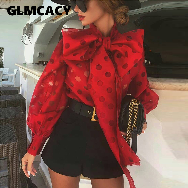 Women Bow Neck Dot Printed Puff Sleeve Blouse Chic Casual Office Lady Puff Sleeve Street Wear Top Elegant Shirt