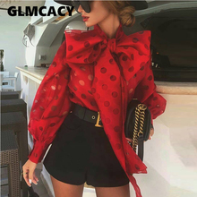 Women Bow Neck Dot Printed Puff Sleeve Blouse Chic Casual Office Lady Puff Sleev