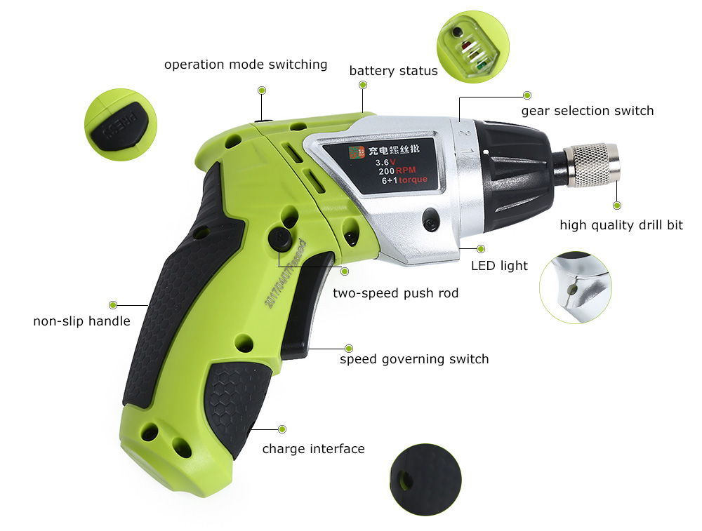 H4351c6480d924561b5ba8d89988cea42E - 3.6V Rechargeable Battery Cordless Electric Drill Screwdriver with Bits Set