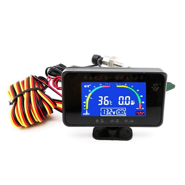 3In1 Auto Öl Manometer 1/8 NPT + Voltmeter + Wasser Temperatur Gauge Meter mit M10 Sensoren