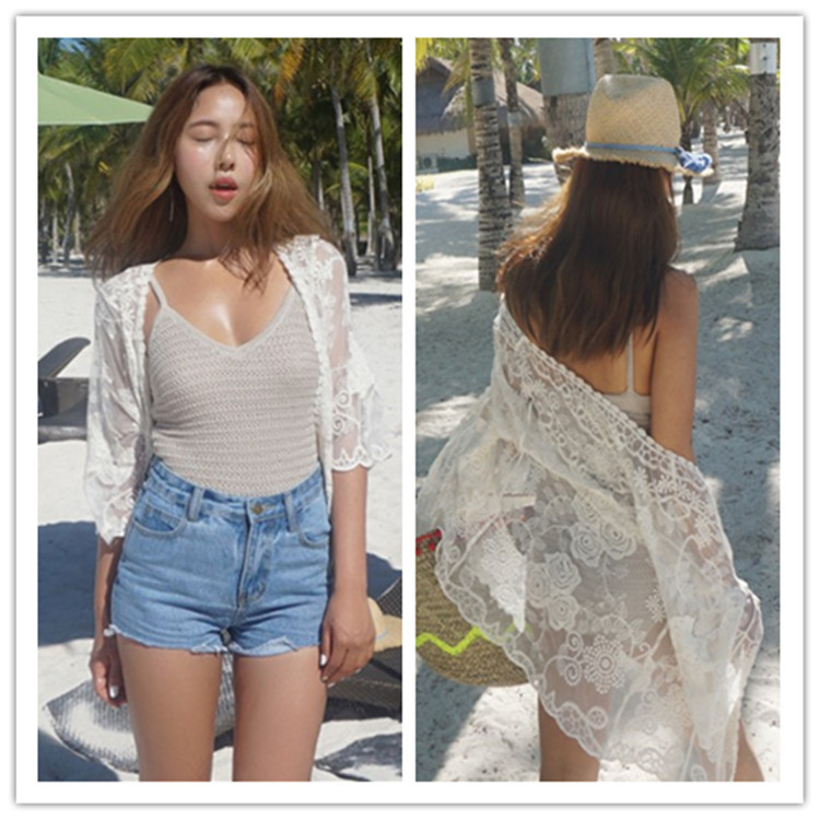 2017 Europe And America Lace Embroidery Beach Jacket Bikini Bathing Suit Outer Blouse Beach Holiday Sunscreen Cardigan Women's