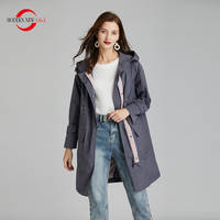 MODERN NEW SAGA 2020 Women Trench Coat Spring Fashion Long Coat Hooded Woman