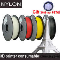 Yousu presente de náilon 10 m teste petg filamento/impressora 3d consumível/1.75mm 1kg 340 m/pla abs transporte de alta qualidade da rússia