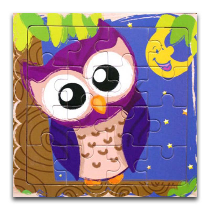 Wooden Puzzles Toys 16Pcs Kids Joy Superior Quality Puzzle Wood Cartoon Owl Animals Jigsaw Educational Toys For Children