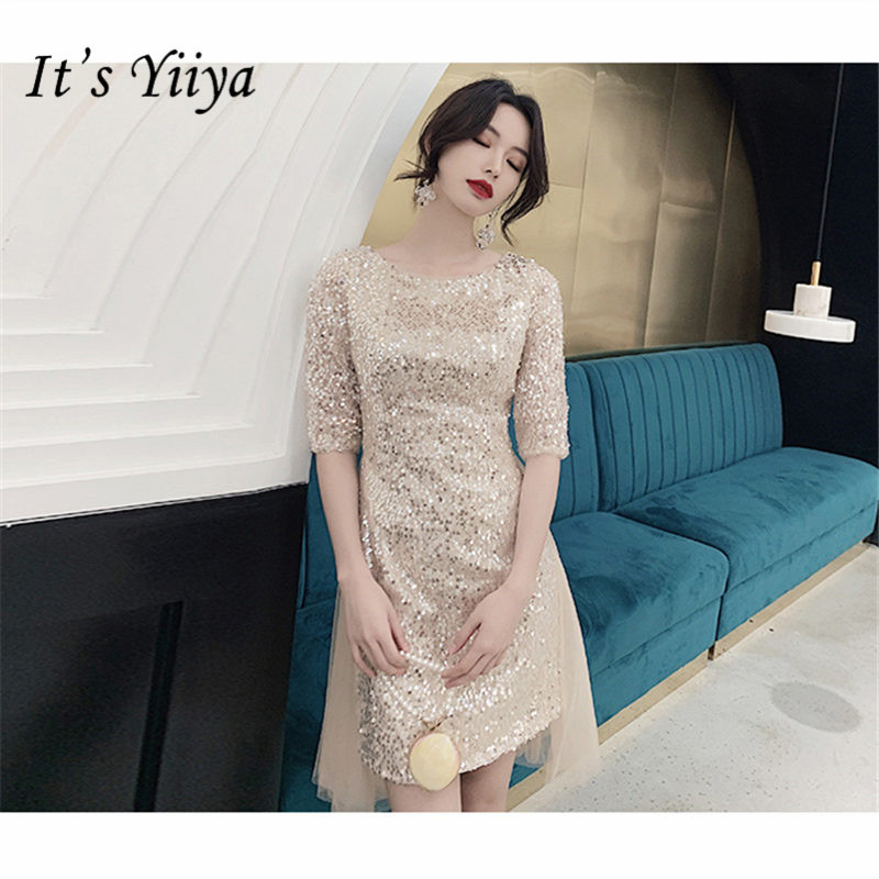 It's Yiiya   Cocktail     Dress   2019 Elegant O-Neck Half Sleeve Women Party Night   Dresses   Plus Size Sequins Robe   Cocktail   Gowns E800