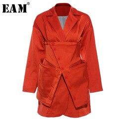 Женский Асимметричный пиджак EAM, оранжевый свободный пиджак с отложным воротником и длинным рукавом, весна-осень 2020, 1T660