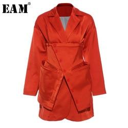 [EAM]  Women Orange Split Irregular Blazer New Lapel Long Sleeve Loose Fit  Jacket Fashion Tide Spring Autumn 2020 1T660