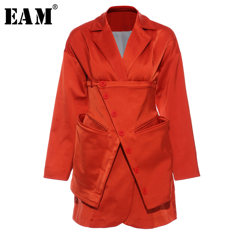 [EAM]  Women Orange Split Two Piece Blazer New Lapel Long Sleeve Loose Fit  Jacket Fashion Tide Spring Autumn 2020 1T660