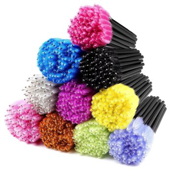 beauty 50pcs/lot Colorful Handle Disposable Mascara Wands Applicator Lash Eye lashes Cosmetic Brush Maquiagem Cilio Makeups Tool 1