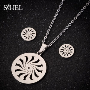 Image 5 - SMJEL Islam Muslim Allah Religious Pendant Necklaces for Men Women Swirl Coin Gold Sun Flower Earings Woman Kid Jewelry Set Gift