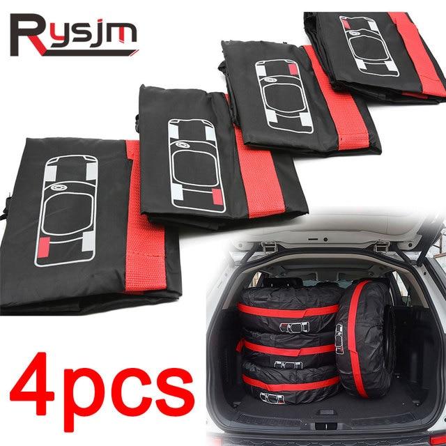 4Pcs อะไหล่ยางกรณีโพลีเอสเตอร์ฤดูหนาวและฤดูร้อนยางรถเก็บกระเป๋า Auto ยางอุปกรณ์เสริมล้อรถป้องกันสีแดง