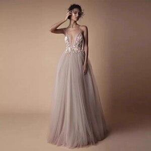 Image 2 - Vestido Noiva 2020 סקסי ספגטי רצועות ללא משענת פרחי חוף חתונת שמלה ארוך קריסטל Boho חתונה שמלות רצפת אורך W30