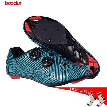 2019 Boodun NOVOS Sapatos De Ciclismo de estrada Sapatos de Bicicleta Não-Deslizamento Sapatos de Corrida De Bicicleta Respirável Profissional Auto-Bloqueio DOS HOMENS TAMANHO 39-45