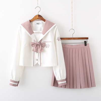 2019 Pink Japanese School Uniform Skirt Jk Class Uniforms Sailor Suit Long/short Sets College Wind Suit Female Students Uniforms
