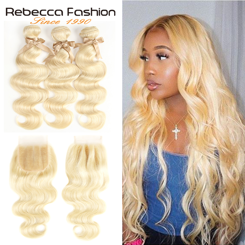 Rebecca 613 Blonde Bundles With Closure Malaysian Body Wave Remy Human Hair 3 Bundles With Closure Free Shipping