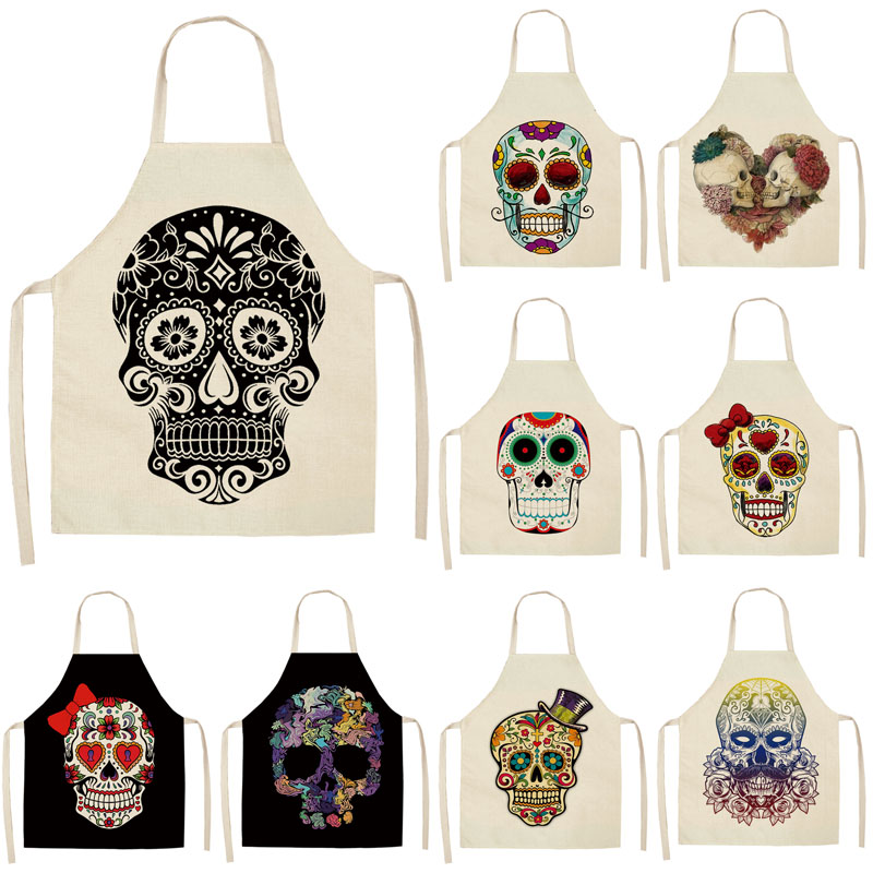 1Pcs Skull Pattern Kitchen Apron For Cooking Sleeveless Cotton Linen Aprons Adult Bibs Home Cleaning Accessories 53*65cm