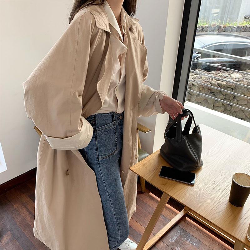 Korean Loose   Trench   Coat Women 2019 Autumn Long Sleeve Double Breasted Windbreaker Coat Female Casual Sashes Long Women Outerwea